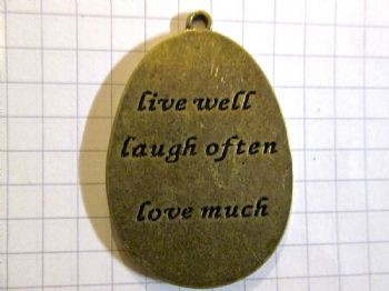 Bronze Oval Shape 'live well laugh often love much' Charm/Pendant